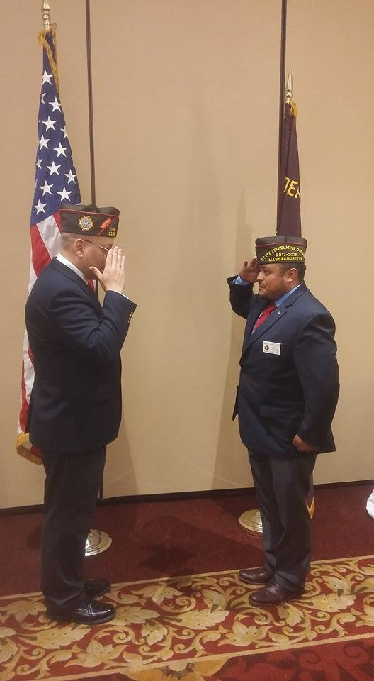 New 2017-2018 VFW State Commander Eric Segundo Sr. and VFW State Legislative id Victor Nunez-Ortiz, saluting after cap replacement.