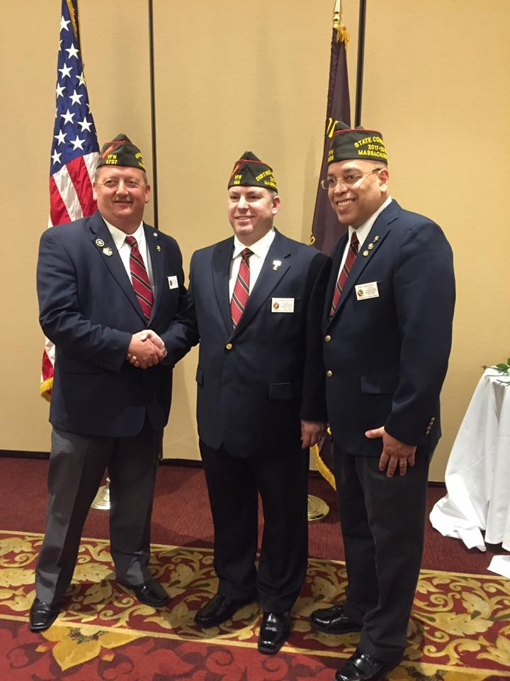 (Left to right) 2016-2017 Outgoing VFW State Commander Brian Martin, District 15 Commander Christian Kulikoski and newly installed 2017-2018 VFW State Commander Eric Segundo Sr.
