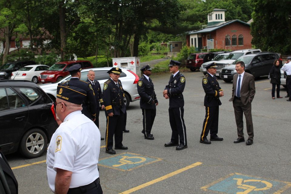Amherst public safety personnel gathered outside the VFW before the Memorial Day ceremony began. Diane Lederman/The Republican