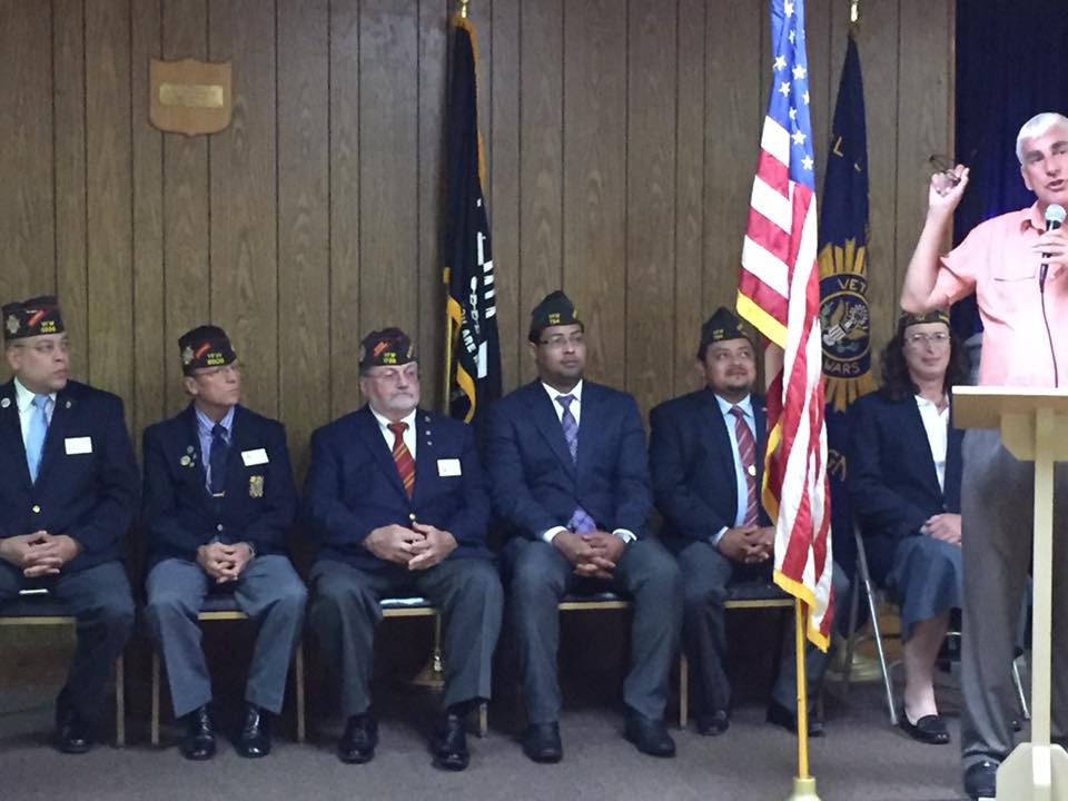 (Left to right) Department of Massachusetts VFW Commander Eric Segundo Sr. District 7 Commander John Chadwick, Department of Massachusetts VFW Junior Vice Commander Jeffrey Najarian, Incoming Post 754 Commander Gamalier Rosa, outgoing Post 754 Commander Victor Nunez-Ortiz, incoming Post 754 Junior Vice Commander Brianna F. MacKinnon and Master of Ceremonies and Veterans Service Officer Steve Connor.