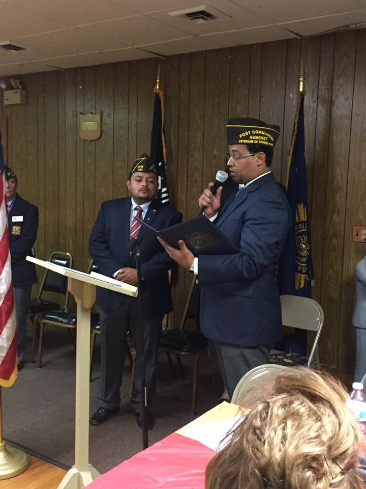 Certificate presentation from new Post 754 Commander Gamalier Rosa to Past Post 754 Commander Victor Nunez-Ortiz for continuous service to our VFW Post 754 Earl J. Sanders and the Veterans of Foreign Wars of the United States.