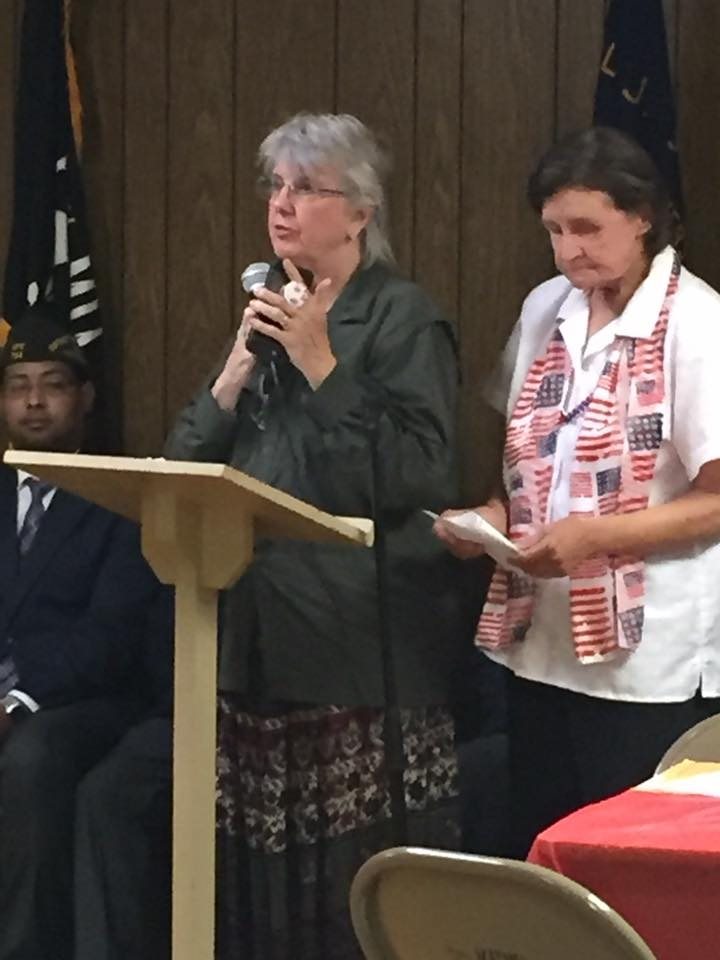 VFW District 7 Auxiliary Co-Chairman for Veteran & Family Support and Post 8006 Hospital Chairman Carlyjane Dunn Watson offering information on programs.