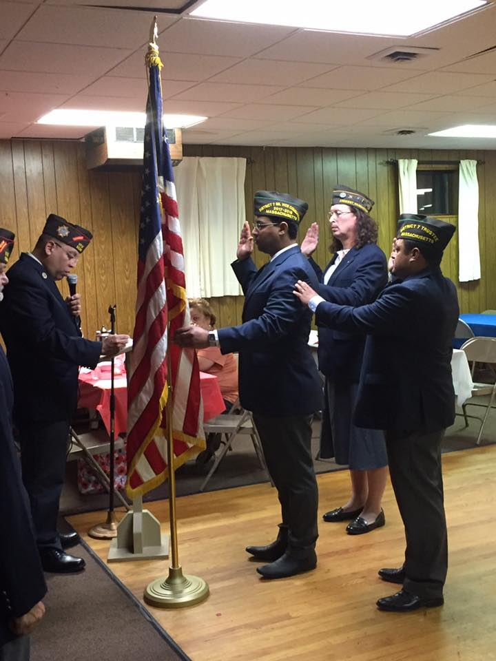 VFW State Commander Eric Segundo Sr. installing our new elected Post Officers: Commander Gamalier Rosa, Senior Vice Commander Victor Nunez-Ortiz and Junior Vice Commander Brianna F. MacKinnon.