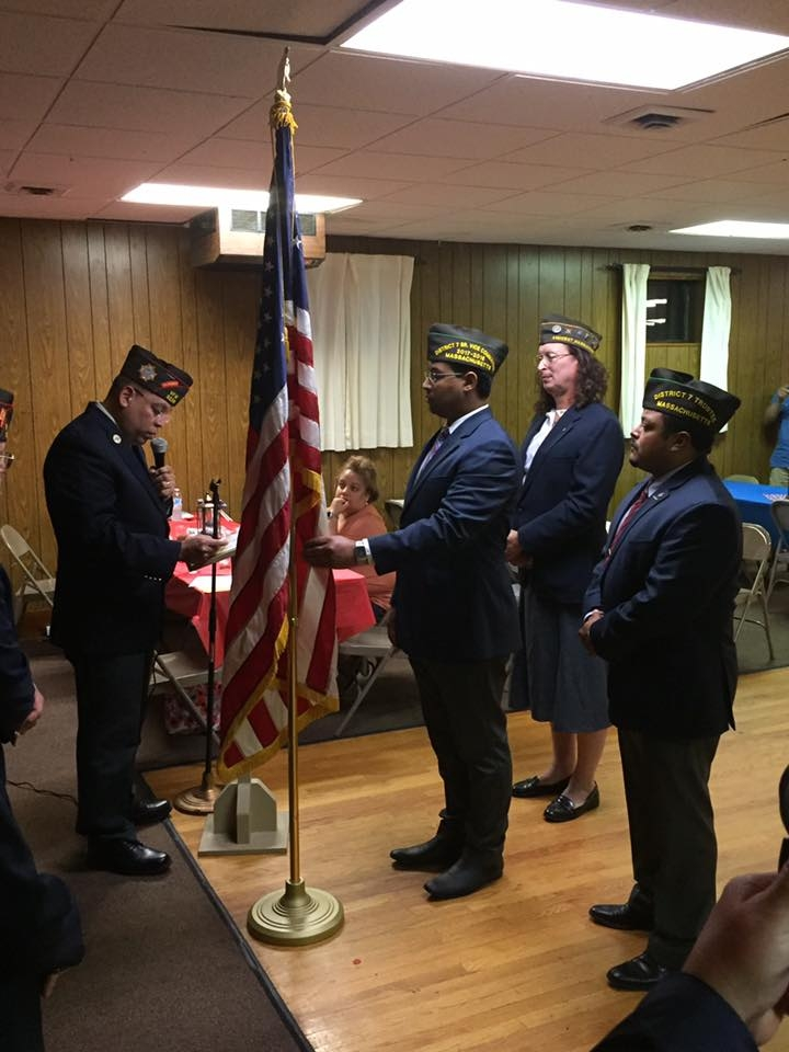 VFW State Commander Eric Segundo Sr. about to install our newly elected Post Officers.
