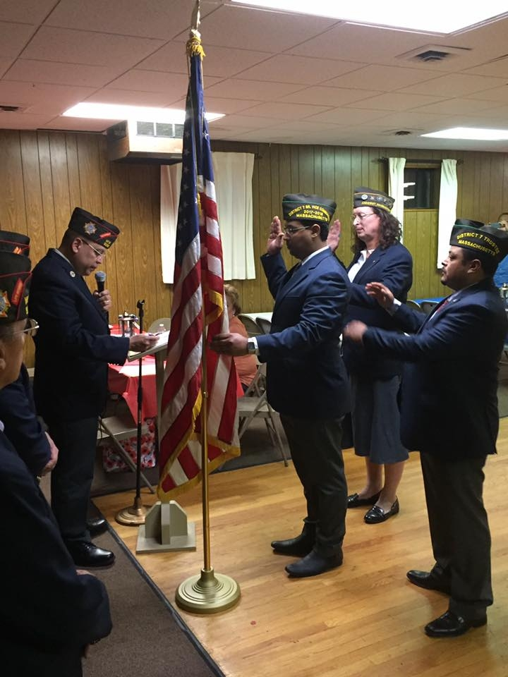 VFW State Commander Eric Segundo Sr. swearing in our incoming Post Officers for 2017-2018, Commander Gamalier Rosa, Senior Vice Commander Victor Nunez-Ortiz and Junior Vice Commander Brianna F. MacKinnon.